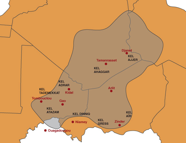 Carte des Touaregs - Afrique du Nord